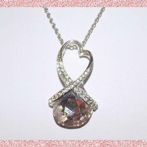 Swarovski Crystal HEART TWIST Pendant Necklace